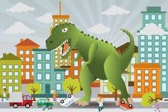 De dinosaurus valt de stad aan Stock Afbeeldingen