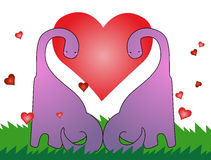 De dinosaurus van de liefde, de kaart van de valentijnskaart Stock Afbeelding