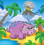 De dinosaurus van het beeldverhaal met vulkaan Stock Foto