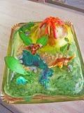De dinosaurus van het cakefondantje royalty-vrije stock foto's