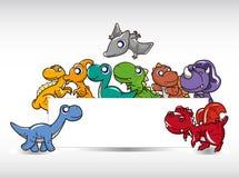 De dinosauruskaart van het beeldverhaal Stock Fotografie