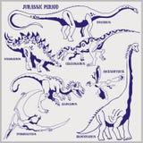 De dinosaurussen van Juraperiode vectorformaat landen de illustratie van de lijnkunst voor het kleuren en trekken royalty-vrije illustratie