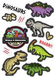De dinosaurussenkarakters ontwerpen sticker dicut stock illustratie