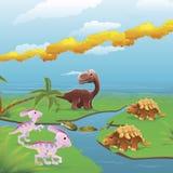 De dinosaurussenscène van het beeldverhaal. Stock Afbeelding