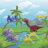 De dinosaurussenscène van het beeldverhaal. Stock Foto