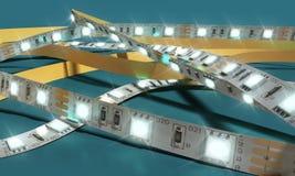 De diodestrook leidde 3d het close-up van de lichtenband teruggeeft op blauw Stock Fotografie