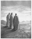 De discipelen ontmoeten Jesus op de weg Stock Foto's