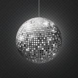 De discobal van de spiegel Soffit de partijzilver van de bezinnings schittert het bal weerspiegelde disco materiaal retro stralen stock illustratie