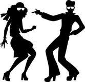 De discodansers silhouetteren vector illustratie