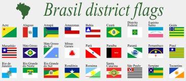 De districtenvlaggen van Brazilië Stock Foto's