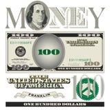 De diverse elementen van de 100 dollarsrekening Stock Foto's