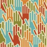 De diversiteit overhandigt op naadloos patroon Stock Afbeeldingen
