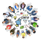De diversiteitsmensen starten het Concept van het Bedrijfssuccesplan op Royalty-vrije Stock Fotografie
