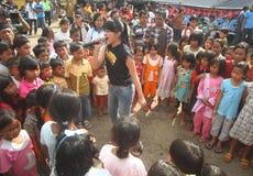 De divertissement réfugiés d'éruption du mont Merapi Franco Camion Photographie stock libre de droits
