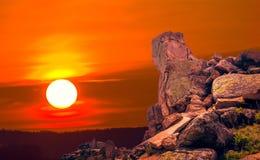 De Dobrogean-sfinx Rotsenvormingen in Dobrogea, Tulcea-telling Stock Afbeelding