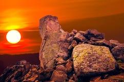 De Dobrogean-sfinx Rotsenvormingen in Dobrogea, Tulcea-telling Royalty-vrije Stock Fotografie