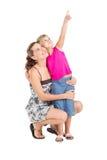 De dochter van de moeder het richten Stock Foto