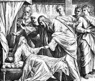 De Dochter van Jesus Raising Jairus ' stock foto's