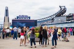 De doctorandus in de letteren van één Gillette Stadium Foxboro van Richtingsventilators stock foto