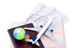 De documenten en het paspoort van de reis Stock Afbeeldingen