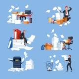 De documenten van de bureauadministratie en paperblanks zakenman en het werklading vector illustratie