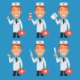 De Documenten van de de Tabletthermometer van artsenholds suitcase syringe Stock Foto