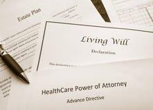 De documenten van de wettelijke en landgoed planning stock foto's