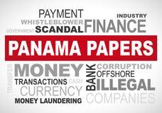 De documenten van Panama schandaal 2016 - grafische woordwolk Royalty-vrije Stock Afbeelding