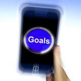 De doelstellingen op Mobiele Telefoon toont Doelstellingen Doelstellingen of Aspiraties vector illustratie