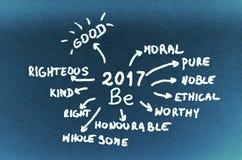 De doelstellingen op 2017 zijn met de hand geschreven op blauw karton Royalty-vrije Stock Foto