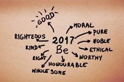 De doelstellingen op 2017 zijn met de hand geschreven op oranje karton Royalty-vrije Stock Foto