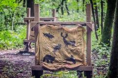 De doelstellingen van het de jachtboogschieten op een bebost gebied stock fotografie