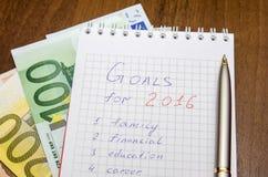 De doelstellingen van het nieuwjaar zijn resoluties met euro Royalty-vrije Stock Foto
