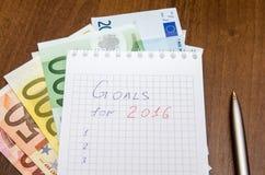 De doelstellingen van het nieuwjaar zijn resoluties met euro Royalty-vrije Stock Afbeelding