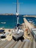 De dokken in Marin Sagres, Algarve portugal Stock Afbeeldingen