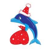 De dolfijn van de kerstman stock illustratie