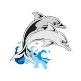 De dolfijnen op witte geïsoleerde achtergrond, Royalty-vrije Stock Afbeelding