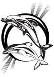 De dolfijnen van het paar - een silhouet Royalty-vrije Stock Afbeeldingen