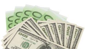 De dollar en de euro bankbiljetten Royalty-vrije Stock Afbeelding