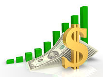 De dollar en de rekeningen Stock Afbeelding