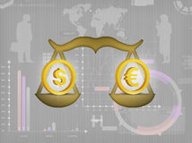De dollar en euro Stock Foto's