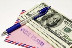 De dollar en wikkelt Concept stock fotografie