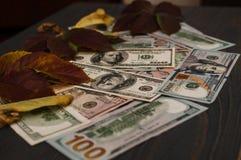 De dollar factureert de munt van 100 dollar Verenigde Staten is mooi als achtergrond Royalty-vrije Stock Afbeeldingen