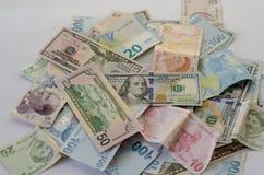 De dollar, de Lires en de euro bankbiljetten zijn op de lijst stock afbeelding