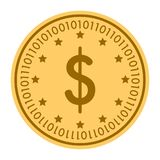 De dollar speelt gouden digitaal muntstukpictogram mee Vectorstijl het gouden gele vlakke symbool van muntstukcryptocurrency Geïs Stock Foto's