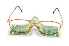 De dollar van de bril Stock Foto's