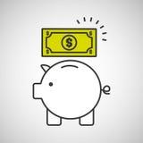 De dollar van de het geldrekening van de Piggybesparing vector illustratie