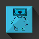 De dollar van de het geldrekening van de Piggybesparing stock illustratie