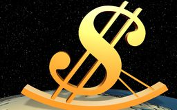 De dollar van de leunstoel op de wereld Stock Afbeelding