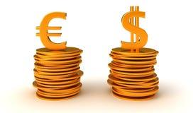 De dollar van de V.S. en de Euro vergelijking van de Munt Stock Afbeelding